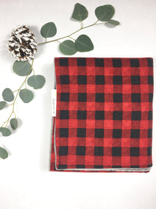 Red and Black Flannel and Minky Plaid Newborn Baby Blanket - Stylish Little Ones Boutique