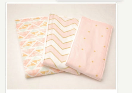 Pink and Gold Chevron and Polka Dotted Burp Cloths Set of 3 - Stylish Little Ones Boutique