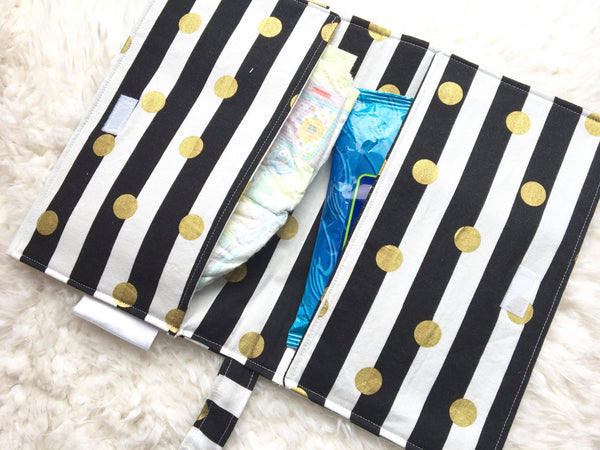 Diaper Clutch/ Black and White Striped Diaper Clutch/ Gold Diaper Clutch/ Baby Shower Gift/ Baby Gift Under 20/ Girl Diaper Clutch - Stylish Little Ones Boutique