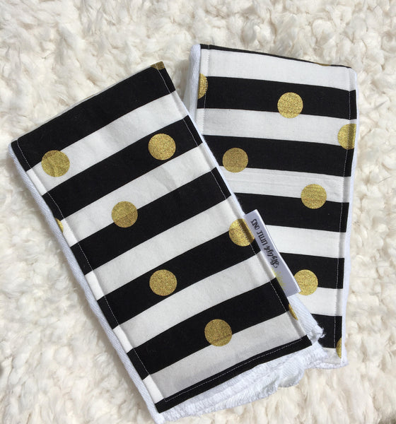Girl Burp Cloths/ Black, White and Gold Burp Burp Cloths: Set of 2 - Stylish Little Ones Boutique