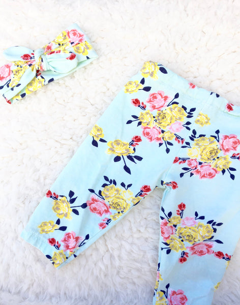 Baby Headband/ Floral Baby Headband/ Newborn headband/ Blue Headband/ Toddler Headband/ Baby Knotted Headwrap - Stylish Little Ones Boutique