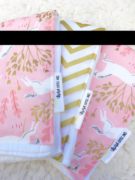 Unicorn Pink and Gold Chevron Baby Burp Cloths: Set of 3 - Stylish Little Ones Boutique