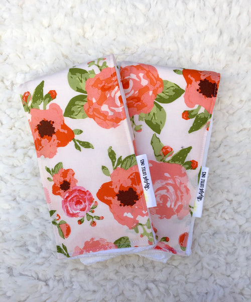 Floral Baby Burp Cloths/ Pink Burp Cloth/ Girl Burp Cloth/ Baby Shower Gift/ Pink Nursery/ Shabby Chic Burp Cloths - Stylish Little Ones Boutique