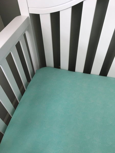 Baby Crib Sheets/ Teal Crib Sheets/ Green Crib Sheets/ Fitted Crib Sheet/ New Baby Gift/ Gender Neutral Baby Gift/ Modern Crib Sheet - Stylish Little Ones Boutique
