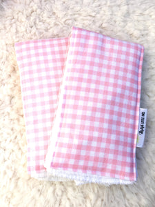 Light Pink and White Plaid Burp Cloths- Set of 2 - Stylish Little Ones Boutique