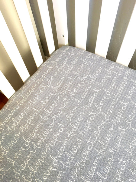 Dream Love Believe and Repeat Crib Sheet ⎜Baby Bedding ⎜Grey Blue Crib Sheet ⎜Baby Gift ⎜Gender Neutral Crib Sheet ⎜ Baby Fitted Crib Sheet - Stylish Little Ones Boutique