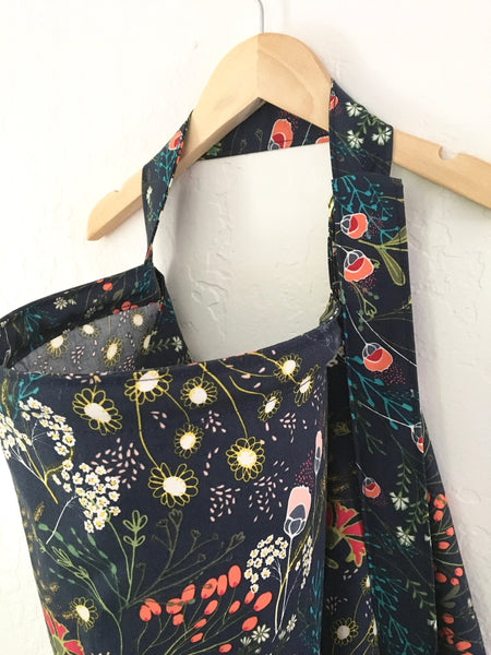 Wire Nursing Cover/ Navy Floral Nursing Cover/ Hooter Hider/ Baby Shower Gift/ Gift for New Mom/ Mustard Floral Breastfeeding Cover - Stylish Little Ones Boutique