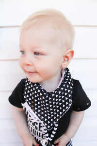 Black, White,and Gold Triangles Modern Baby Bandana Bib - Stylish Little Ones Boutique