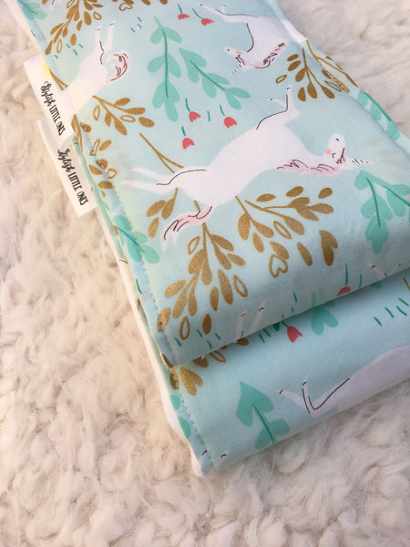 Burp Cloths/Gold Unicorns Burp Cloths/  Burp Cloth Set of 2/ Baby Shower Gift/ Baby Gift Under 20/ Blue and Gold Burp Cloths - Stylish Little Ones Boutique