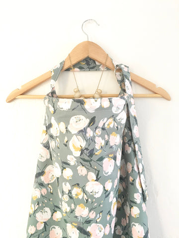 Wire Grey and Pink Floral Nursing Cover - Stylish Little Ones Boutique