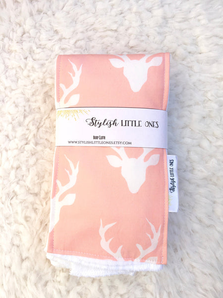 Pink Deer Baby Burp Cloths/ Pink Burp Cloth/ Girl Burp Cloth/ Baby Shower Gift/ Pink Nursery/ Woodsy Burp Cloth Set/ Nature baby Nursery - Stylish Little Ones Boutique