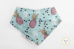 Blue and Pink Pineapples Bandana Bib - Stylish Little Ones Boutique