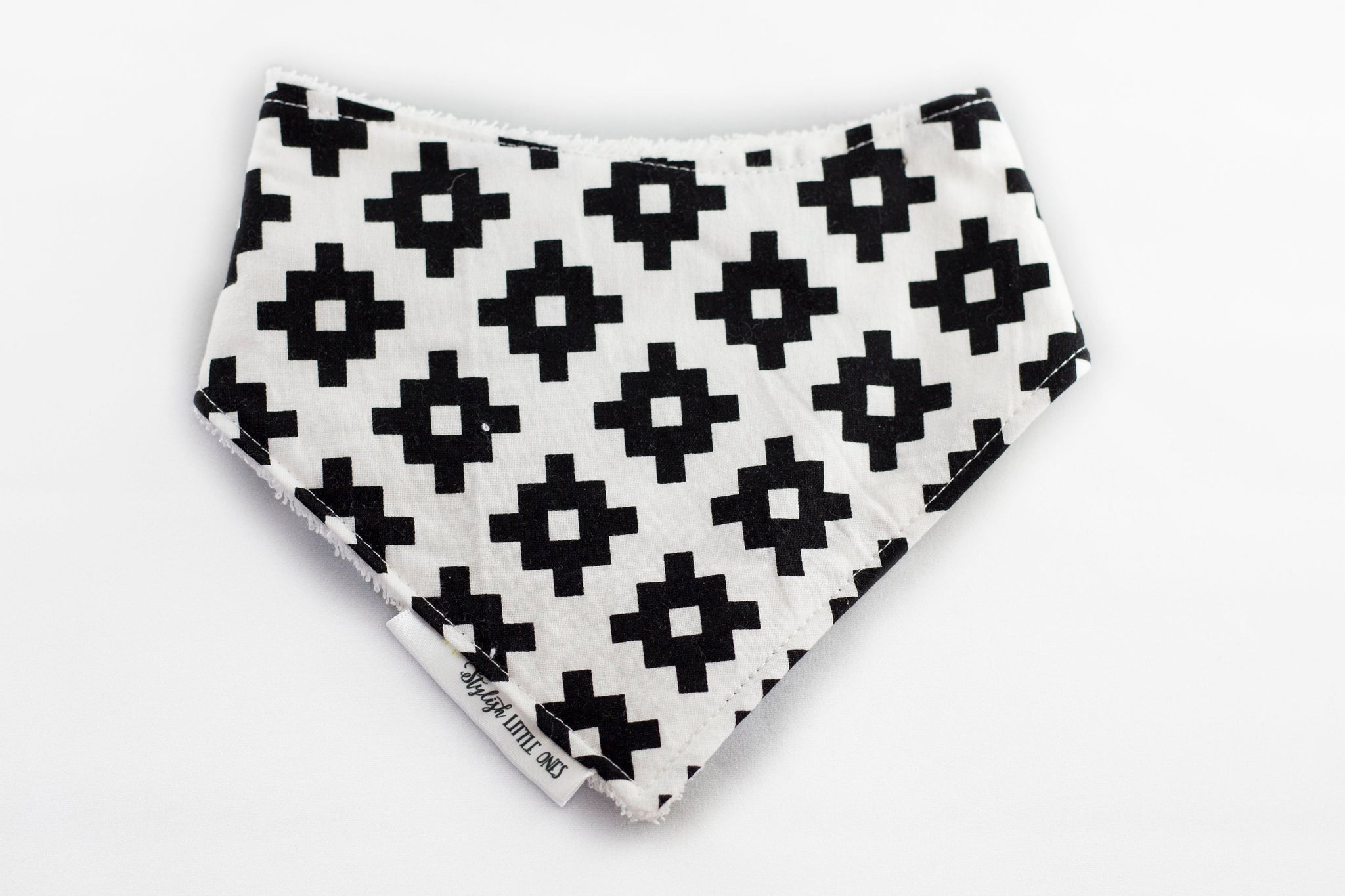 Black and White Geometric Baby Bandana Bib - Stylish Little Ones Boutique