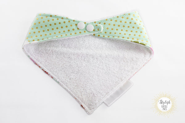 Floral and Polka Dots Bandana Bib/ Girl Baby Bandana Bib/ Sea Foam Green Bandana Bib/ Stylish Baby Bib/ Baby Shower Gift/ Bibdana - Stylish Little Ones Boutique