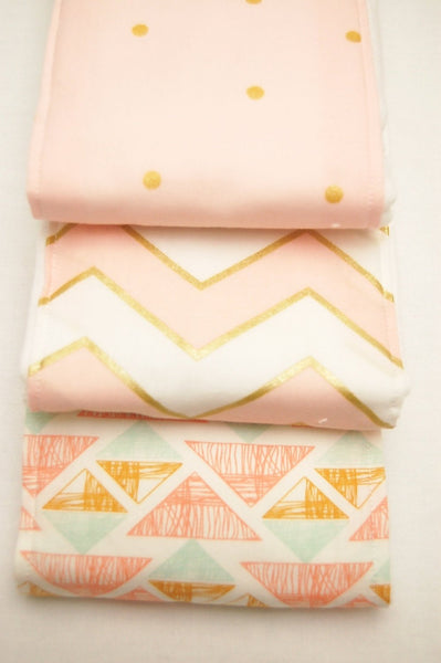 Girls Baby Burp Cloths/ Pink and Gold Chevron and Polka Dots Baby Burp Cloths: Set of 3/ Cloth Diapers/ New Baby Gift/ Baby Shower Gift - Stylish Little Ones Boutique