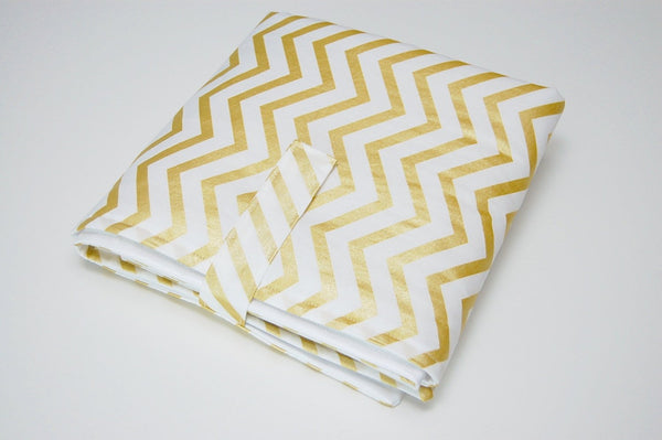 Baby Travel Changing Pad/Waterproof Padded Baby Changing Pad/ Gold Chevron Baby Pad/ PUL Fabric Pad - Stylish Little Ones Boutique
