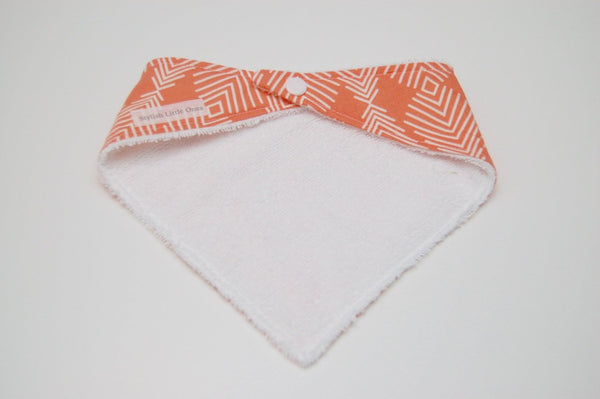 Terry Cloth Coral Baby Bandana Bib/ Bibdana/ Girl Bandana Bib/ Coral Bib/ Gender Neutral Bandana Bib/ Gift for New Mom - Stylish Little Ones Boutique
