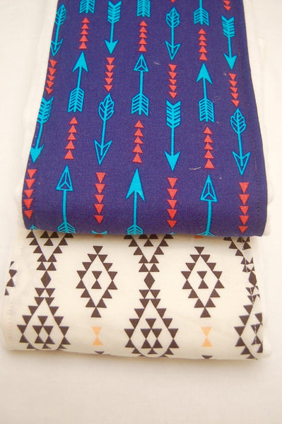 Arrow and Aztec Prints Baby Burp Cloths/ Burp Cloth Set/ Tribal Print Burp Cloth/ Baby Shower Gift/ Navy Burp Cloths/ Black and white - Stylish Little Ones Boutique