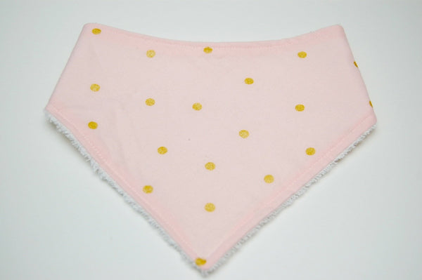 Pink and Gold Polka Dotted Baby Bandana Bib - Stylish Little Ones Boutique