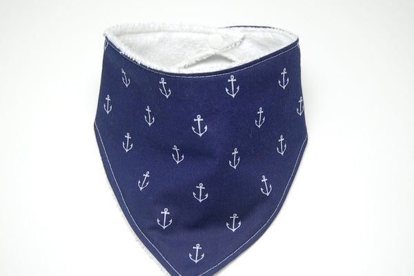 Nautical Baby Bib/ Navy with Anchors Baby Bandana Bib/ Gender Neutral Bibdana/ Baby Bandana Bib/ Baby Shower Gift/ Terry Cloth Bib - Stylish Little Ones Boutique