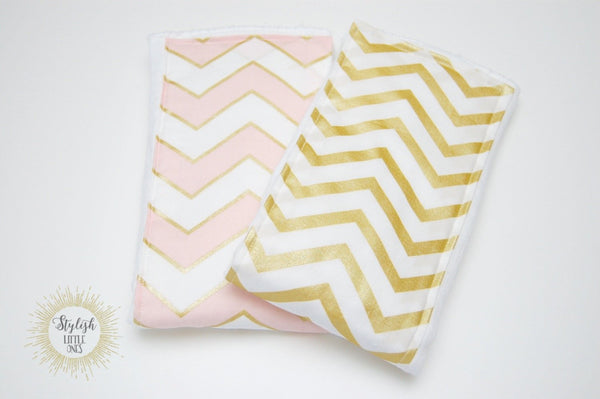 Gold and Pink Chevron Girl Baby Burp Cloths - Stylish Little Ones Boutique