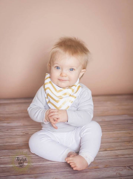 Baby Gold Chevron Bandana Bib - Stylish Little Ones Boutique