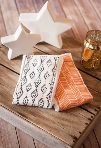 Aztec and Orange and White Burp Cloths: Set of 2 - Stylish Little Ones Boutique