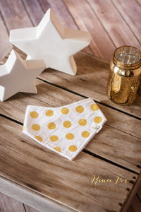 Gold and White Polka Dots Terry Cloth Baby Bandana Bib - Stylish Little Ones Boutique