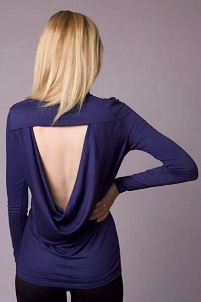 Open Back Cowl Turtleneck Top - stevieTees