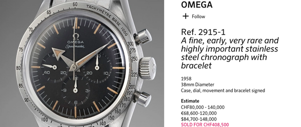 Original Omega Speedmaster Sets New Auction Record