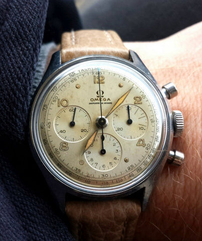 omega triple register vintage watch