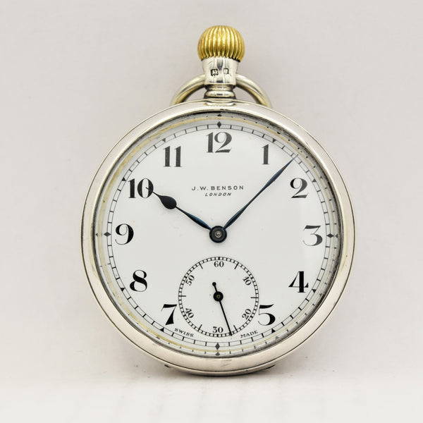 J. W. BENSON Silver Pocket Watch Pocket Watches - Ashton-Blakey Vintage Watches