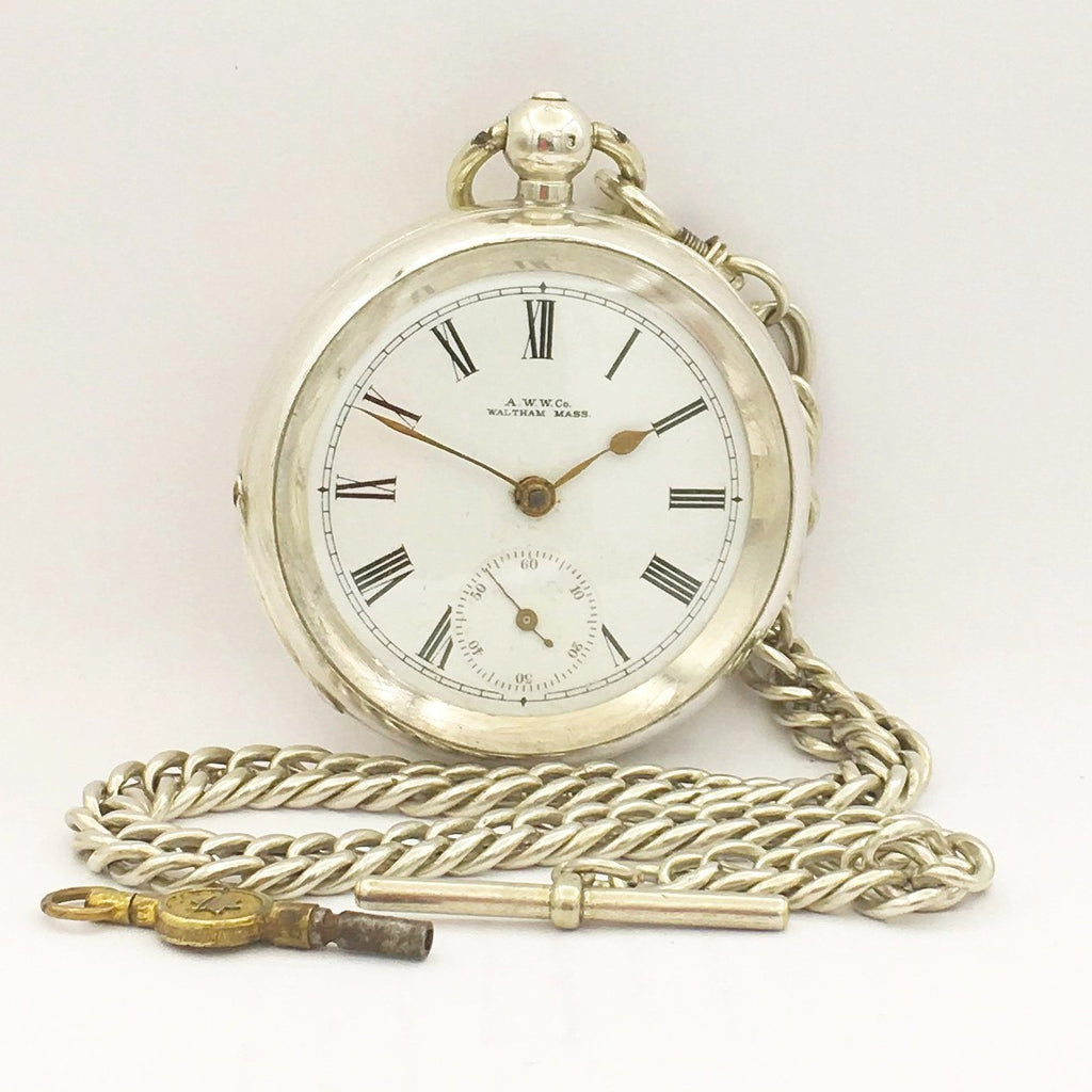 WALTHAM Silver Pocket Watch with Chain Pocket Watches - Ashton-Blakey Vintage Watches