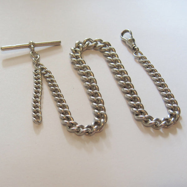 ENGLISH STERLING SILVER POCKET WATCH CHAIN Watch chains - Ashton-Blakey Vintage Watches