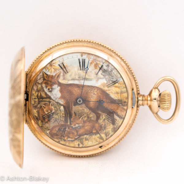 WALTHAM HAND PAINTED DIAL POCKET WATCH Pocket Watches - Ashton-Blakey Vintage Watches