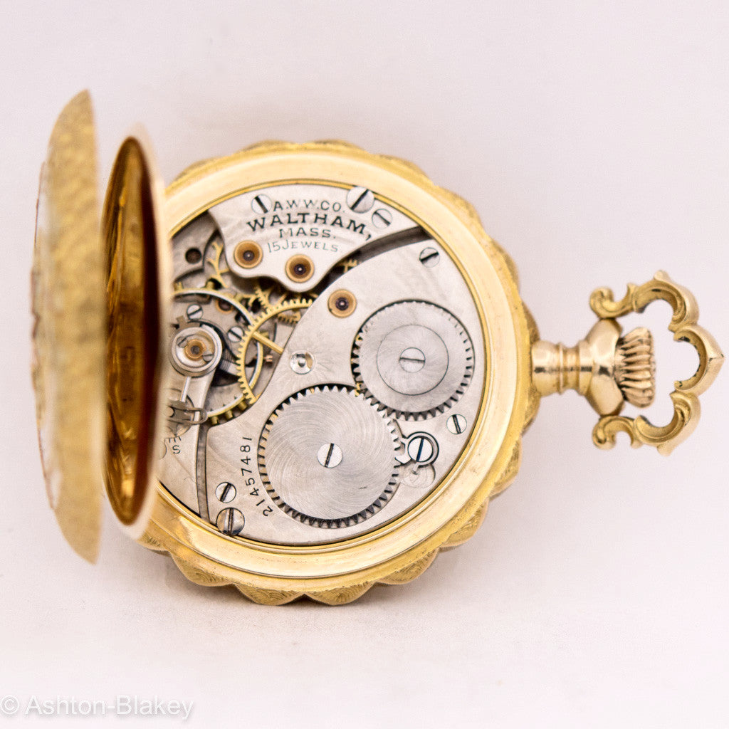 WALTHAM 14K  GOLD MULTICOLOR POCKET WATCH Pocket Watches - Ashton-Blakey Vintage Watches