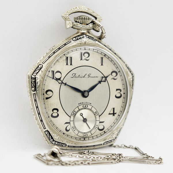 GRUEN 14K GOLD Veri Thin Precision Pocket Watch Pocket Watches - Ashton-Blakey Vintage Watches