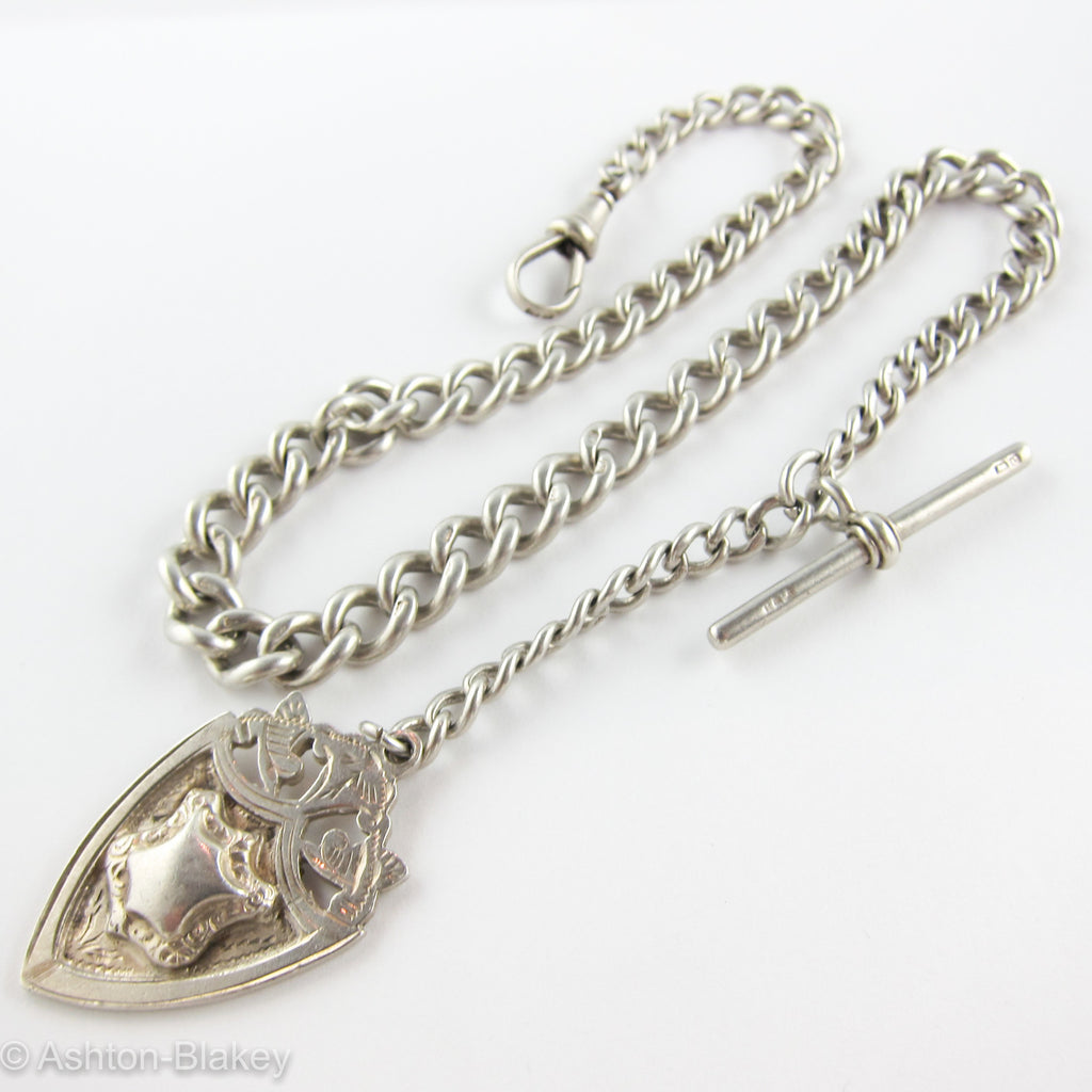 English Sterling silver Antique English Pocket Watch Chain Jewelry - Ashton-Blakey Vintage Watches