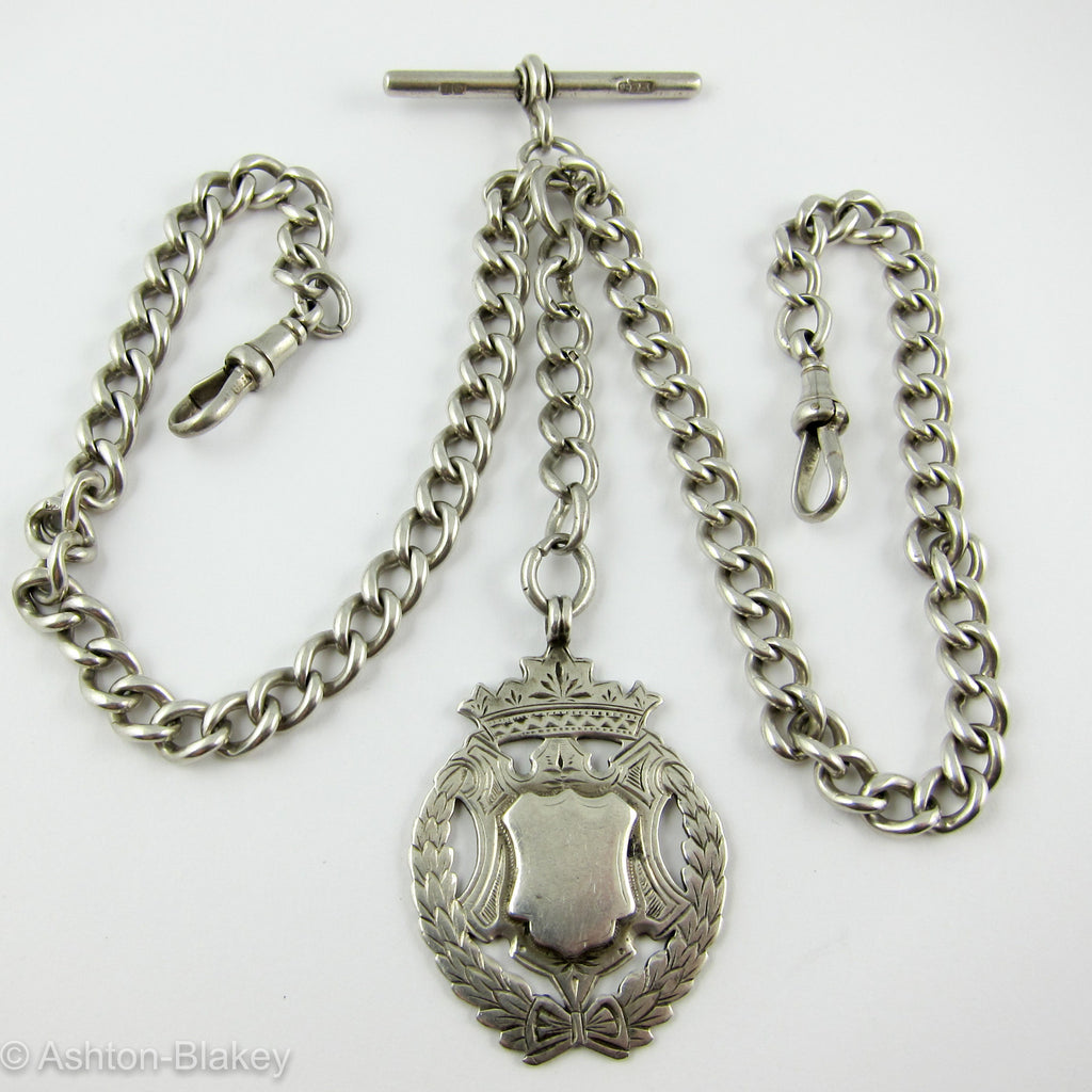 Sterling Silver antique double Albert Pocket Watch chain Jewelry - Ashton-Blakey Vintage Watches