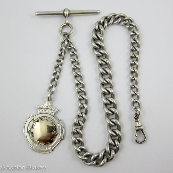 English Sterling Silver Antique Pocket Watch chain Jewelry - Ashton-Blakey Vintage Watches