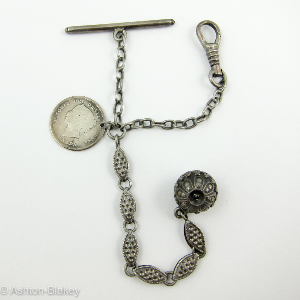 English Sterling silver watch chain with Canadian coin Jewelry - Ashton-Blakey Vintage Watches