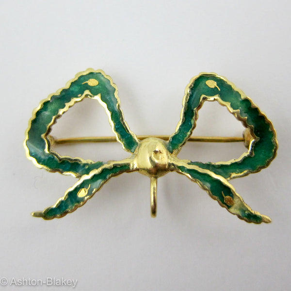 Victorian 14K gold and beautiful green enamel watch pin Jewelry - Ashton-Blakey Vintage Watches