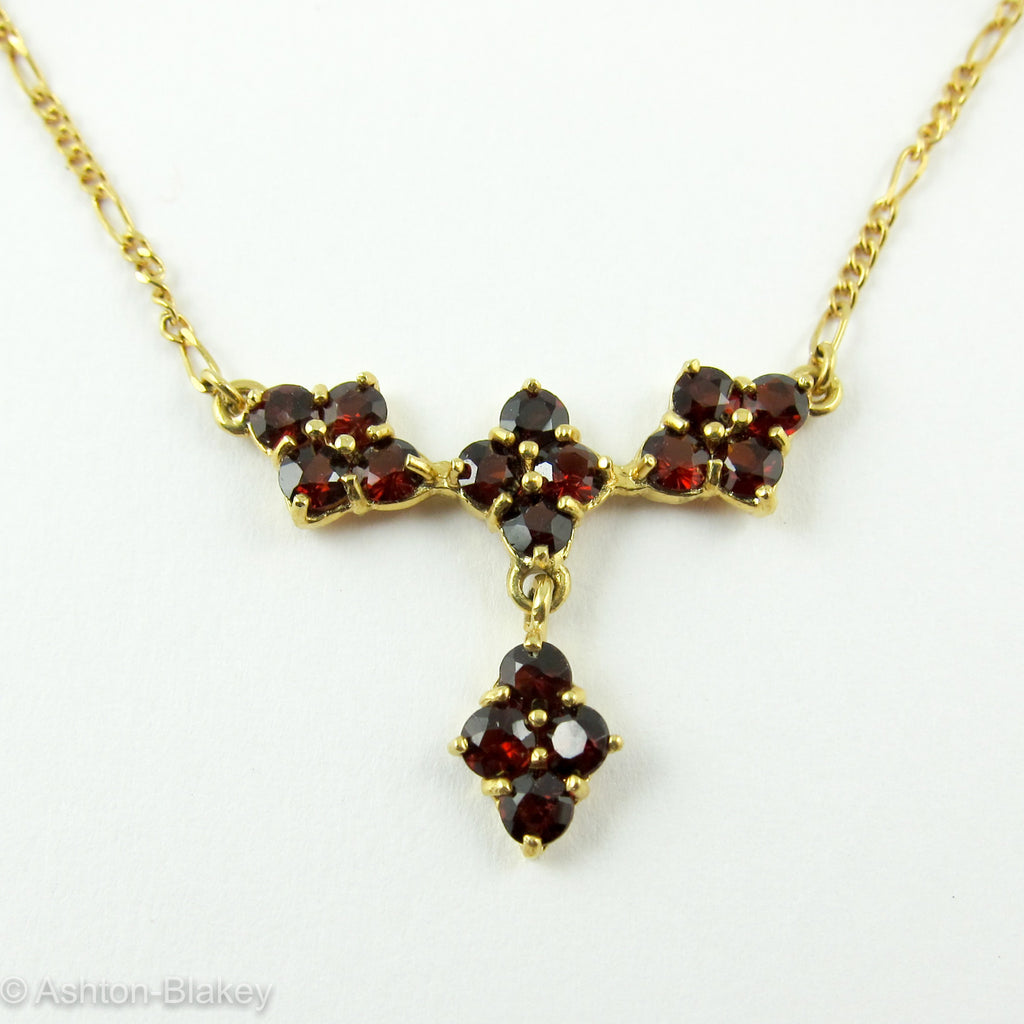 Necklace 18K Gold Garnet Necklace Jewelry - Ashton-Blakey Vintage Watches