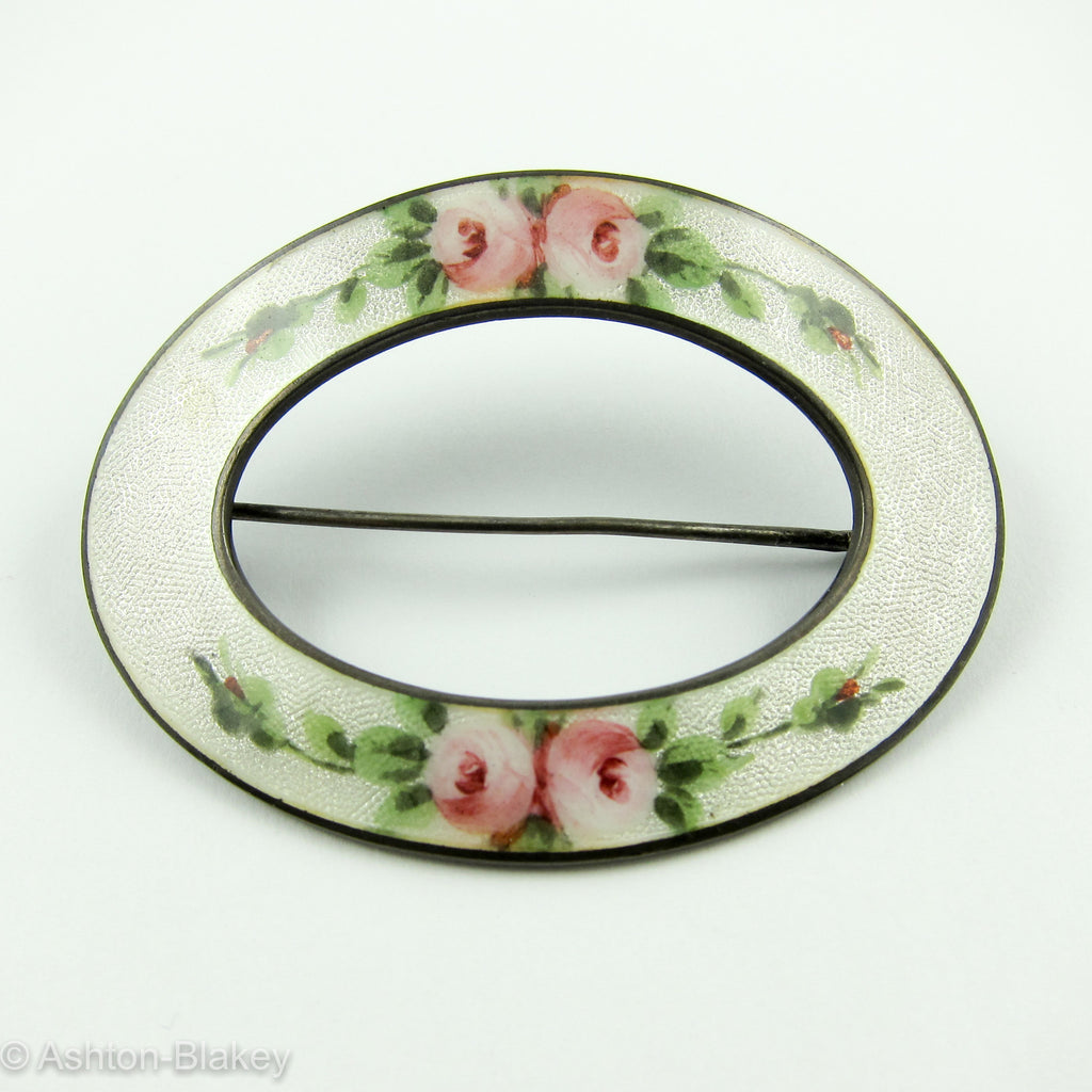 Victorian Enamel on sterling silver blouse pin Jewelry - Ashton-Blakey Vintage Watches