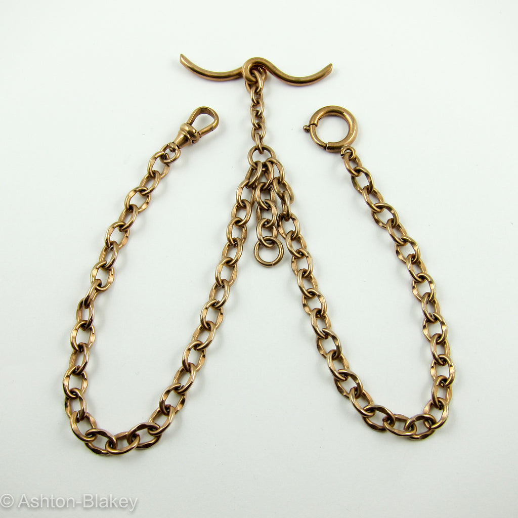 9K English rose gold double Albert Pocket Watch chain Watch chains - Ashton-Blakey Vintage Watches