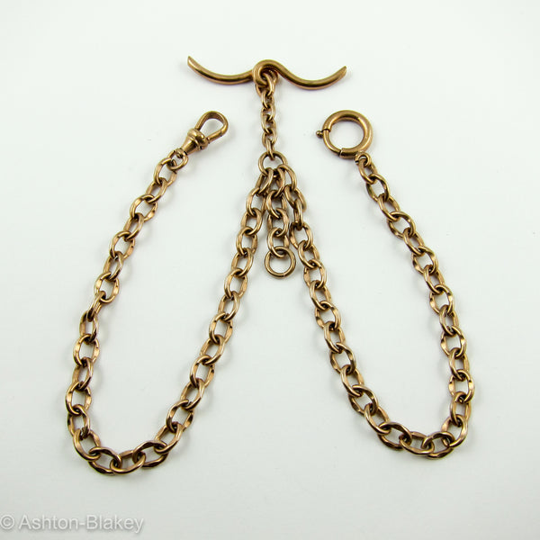 9K English rose gold double Albert Pocket Watch chain