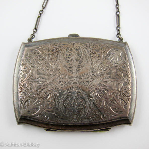 STERLING SILVER evening purse with sterling silver chain