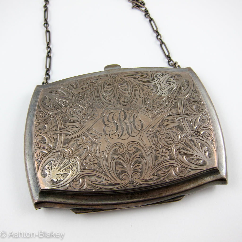 STERLING SILVER evening purse with sterling silver chain Jewelry - Ashton-Blakey Vintage Watches