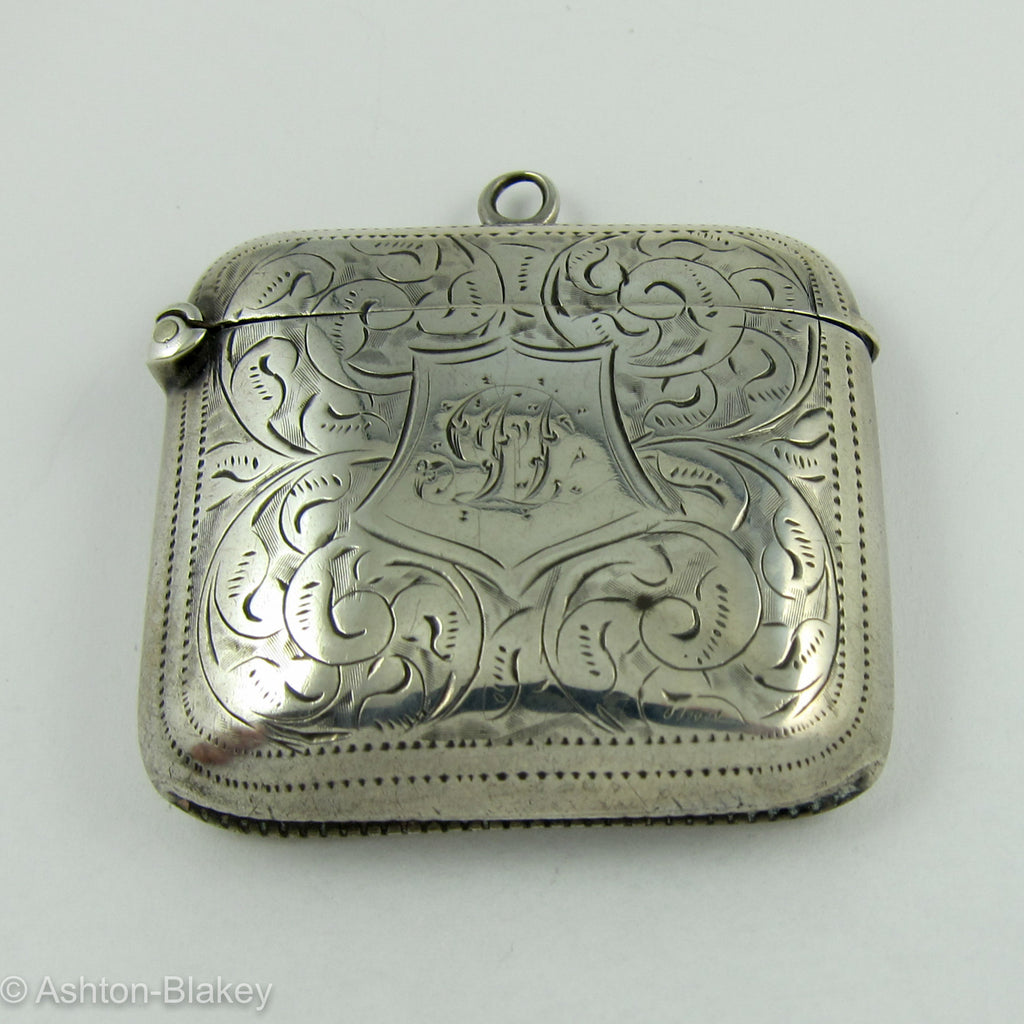 English Sterling silver match safe Birmingham Jewelry - Ashton-Blakey Vintage Watches