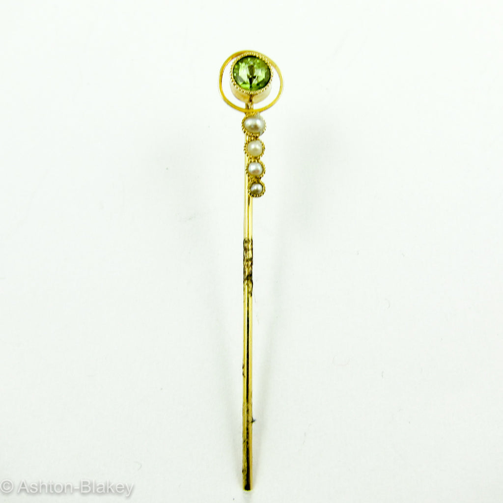 14k Peridot Victorian Stick Pin Jewelry - Ashton-Blakey Vintage Watches